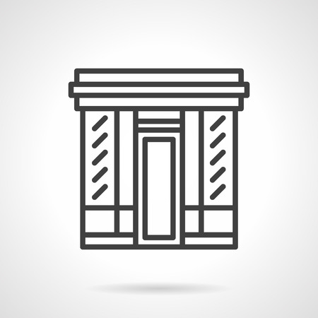 simple store: Storefronts and showcases. Facade of market, cafe, book store or other. Simple black line vector icon. Single element for web design, mobile app. Illustration