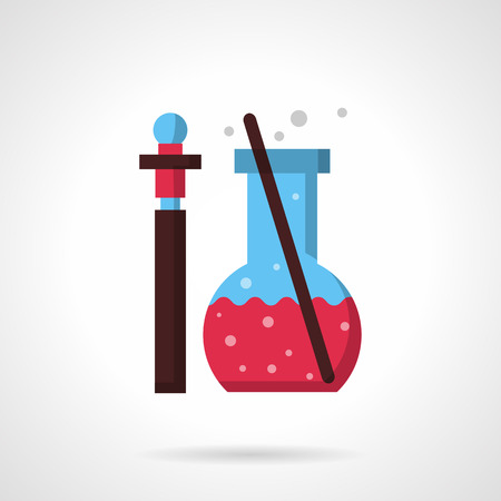 a substance vial: Pharmacy laboratory glass. Thin bottle with sample of medicine or reactive and flask with pink liquid and stick.  Flat color style vector icon. Web design element for site, mobile and business.