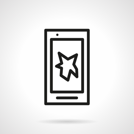display problem: Smartphone or touch phone with broken display. Repair services for devices. Simple black line vector icon. Single element for web design, mobile app.