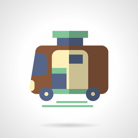 mode transport: Brown camping trailer. Vehicles for comfortable travel. Mode of transport.  Flat color style vector icon. Web design element for site, mobile and business.