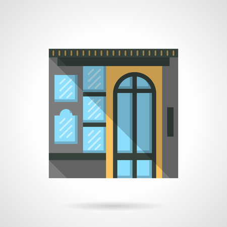 overhang: Colorful commercial building facade with arch door. Box office. Storefronts and showcases. Flat color style vector icon. Web design element for site, mobile and business.