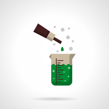 portion: Chemical reaction of green solution in measuring flask and pipette with reactant portion. Laboratory experiments. Flat color style vector icon. Web design element for site, mobile and business.
