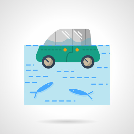 inundated: Insurance car from flood. Green car in a river or lake with fishes.  Flat color style vector icon. Web design element for site, mobile and business.