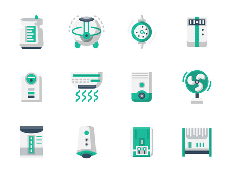 filtration: Equipment and appliances for heating and conditioning of home or office space. Air purification and ionizing. Home climate. Flat color vector icons. Design elements for website, mobile app, business.