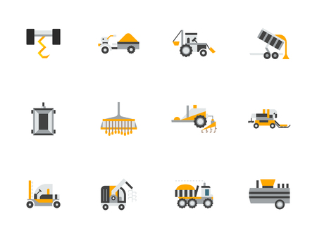 harvester: Agricultural vehicles, farming machinery. Combine, harvester and tractor. Agricultural industry. Collection of flat style colorful vector icons. Elements for web design, website, mobile app. Illustration