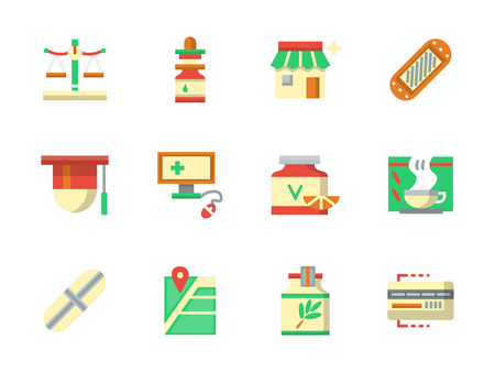 chemist: Pharmacy and chemist shop. Drugstore buttons - items, pills, herbal tea, online receipt and city navigation. Collection of flat colorful vector icons. Elements for web design, website, mobile app.