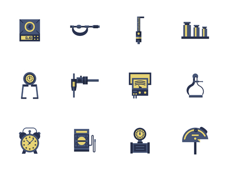 metrology: Measuring tools and devices for engineering, math, construction or calibration. Metrology science. Collection of flat style colorful vector icons. Elements for web design, website, mobile app.
