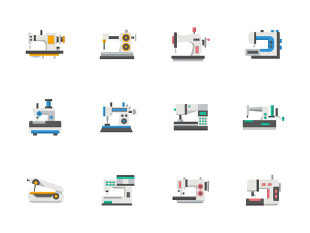 fabrication: Electric, automation, manual and mobile sewing machines and overlock. Clothes fabrication equipment.  Tailoring and decorative embroidery. Flat design vector icons collection. Elements for web, app.