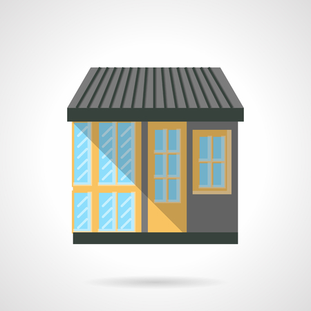 storefronts: Colorful facade of shop for appliances. Storefronts and showcases. Commercial city architecture. Flat color style vector icon. Web design element for site, mobile and business.