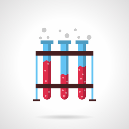 drug discovery: Three test-tubes with pink liquid solution on rack. Laboratory equipment. Science research. Medical analysis. Flat color style vector icon. Web design element for site, mobile and business.