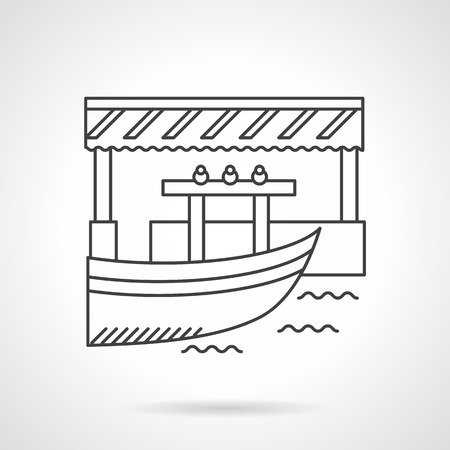 floating market: Boat and jetty or pier with awning. River market. Floating shops. Tropical trade. Flat line style vector icon. Single design element for website, business.