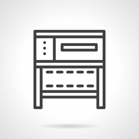 commercial kitchen: A front view of a stove or oven for bakery. Commercial and household kitchen appliances. Simple black line vector icon. Single element for web design, mobile app.