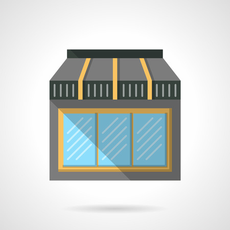 Triple glass window showcase for cafe with awning. Storefronts and showcases. Commercial buildings facade.  Flat color style vector icon. Web design element for site, mobile and business.