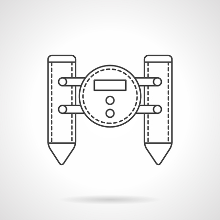 controlled: Military robotic units. Unmanned catamaran with camera. Surveillance and defense remote controlled vehicles. Flat line style vector icon. Single design element for website, business. Illustration
