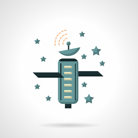 navigational: Space artificial satellite and stars. Telecommunication and navigational technology. Space research. Astronomy. Flat color style vector icon. Web design element for site, mobile and business.