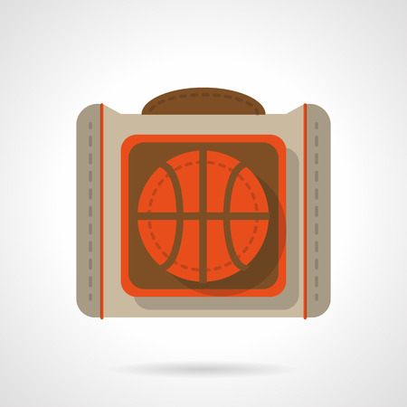 mobile accessories: Sport accessories and outfit. Comfortable bag for basketball with bright orange ball. Activity lifestyle. Flat color style vector icon. Web design element for site, mobile and business.