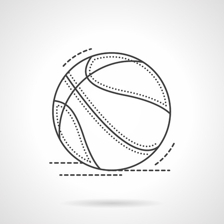 school sport: Sport equipment. Basketball ball. Team game, school sport. Sports items and accessories shop. Flat line style vector icon. Single design element for website, business.
