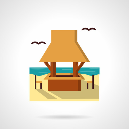 seacoast: Outdoors cafe or bar on sea sand beach. Gazebo with table and seats. Tropical resort. Cafe and bungalows.  Flat color style vector icon. Web design element for site, mobile and business.