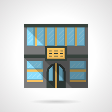 storefronts: Commercial and service buildings. Hotel or city hostel facade. Stores and markets. Storefronts theme. Flat color style vector icon. Web design element for site, mobile and business.