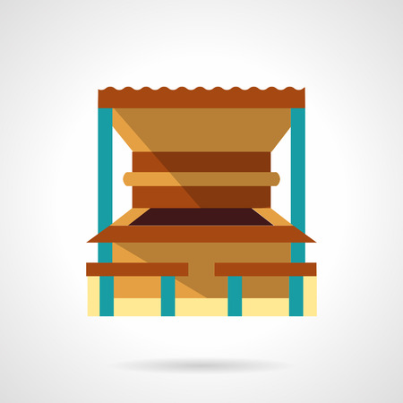 symbol icon: Constructions for leisure. Wooden outdoor beach bar or cafe. Sea resort. Flat color style vector icon. Web design element for site, mobile and business.