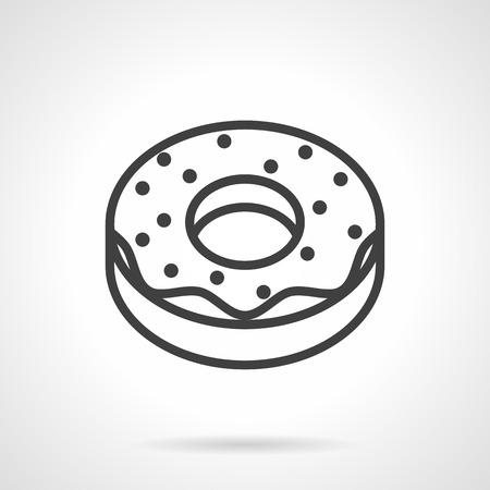 donut shop: Roasted sweet pastry. Glazed donut. Desserts menu for cafe and coffee shop. Simple black line vector icon. Single element for web design, mobile app.