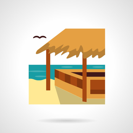 tropical beach panoramic: Bungalows, cafe and bars theme. Wooden beach construction with hay roof or awning. Tropical seascape. Tourism and travel. Flat color vector icon. Web design element for site, mobile and business.
