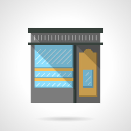 shoe shop: Commercial buildings facade. Storefront of shoe shop. Local markets. Flat color style vector icon. Web design element for site, mobile and business.