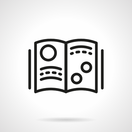 scientific literature: Open book with abstract sample text and illustrations. Planets or other objects. Science and education. Scientific magazine. Simple black line vector icon. Single element for web design, mobile app.