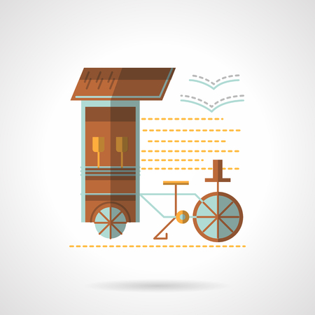 seacoast: Street trade. Wheel trolley on a sea beach. Mobile drink stall. Flat color style vector icon. Web design element for site, mobile and business.