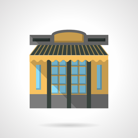 Facade of public building with yellow wall and striped awning. Cafe exterior. Storefronts and showcases theme. Flat color style vector icon. Web design element for site, mobile and business. Illustration