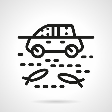 inundated: Insurance car from force majeure. Flood disaster and car in a river. Simple black line vector icon. Single element for web design, mobile app. Illustration