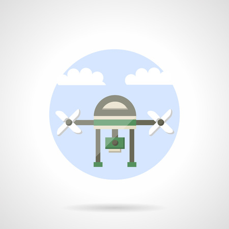unmanned: Unmanned aerial vehicle. Drone with camera for surveillance of territory monitoring. Flat color style vector icon. Web design element for site, mobile and business.
