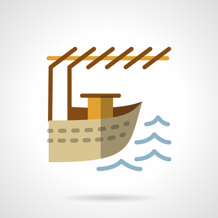 Water transportation vessels. Jetty for boat. Fishing, sea resort. Flat color style vector icon. Web design element for site, mobile and business. Illustration