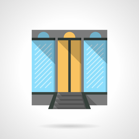 forepart: Shopping center facade with large glass windows. Commercial building. Storefront and showcases. Flat color style vector icon. Web design element for site, mobile and business.