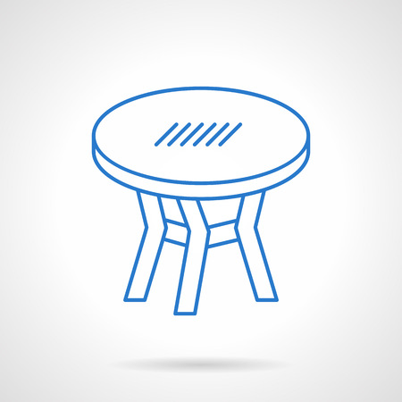 lunch room: Round table for cafe and cafeteria, restaurant or home. Furniture for interior. Flat blue line style vector icon. Single design element for website, business. Illustration