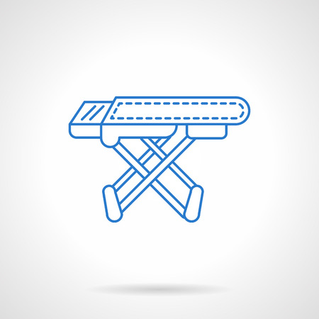 household objects equipment: Laundry equipment and objects. Empty ironing board. Household elements. Flat blue line style vector icon. Single design element for website, business.