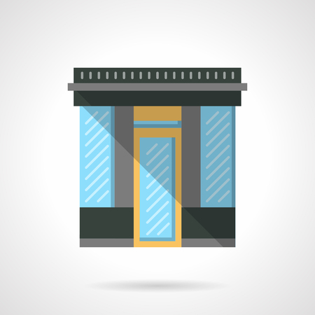 Storefronts and showcases. Facade of market. City commercial buildings.  Flat color style vector icon. Web design element for site, mobile and business. Illustration