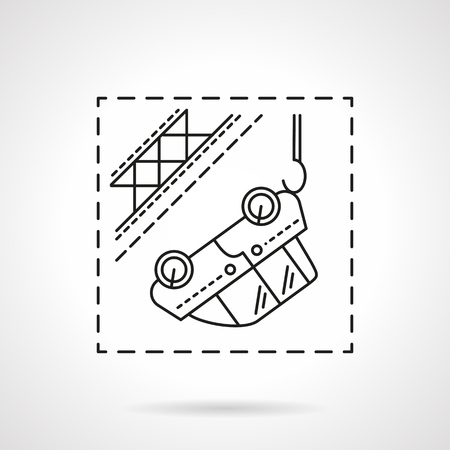 tow car: Automobile evacuation. Car hanging on tow. Car insurance cases. Flat line style vector icon. Single design element for website, business. Illustration