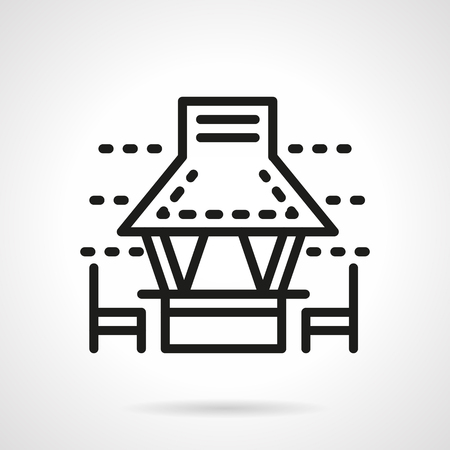 garden furniture: Gazebo with chairs. Garden furniture for a picnic or holiday party. Simple black line vector icon. Single element for web design, mobile app.