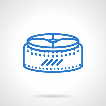 padded stool: Round pouf. Upholstered seating furniture for the house. Simple blue line vector icon. Single element for web design, mobile app.