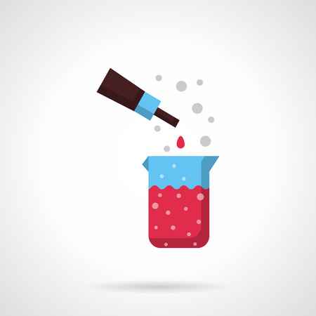 reactive: Beaker with pink liquid and pipette. Chemical laboratory. Medicine and pharmacology. Flat color style vector icon. Web design element for site, mobile and business.