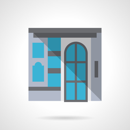 storefronts: Facade with glass door and a showcase. Commercial building for business and marketing. Storefronts and showcases. Flat color style vector icon. Web design element for site, mobile and business.