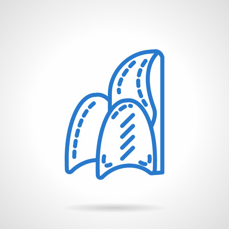 padded: Armchair. Furniture for home and office. Soft chair. Furniture store. Simple blue line vector icon. Single element for web design, mobile app. Illustration