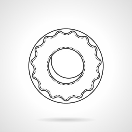 glazed: Round donut with glaze. Desserts menu for cafe. Confectionery products for grocery stores and coffee shops. Flat line style vector icon. Single design element for website, business. Illustration