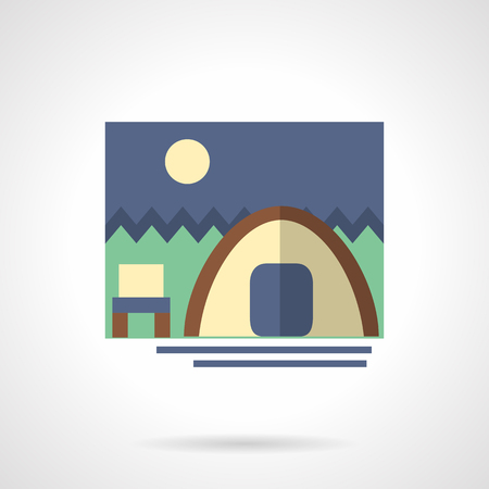 Tent and chair by a river in a forest and moon on night sky. Outdoor recreation, tourism and hiking. Flat color style vector icon. Web design element for site, mobile and business.