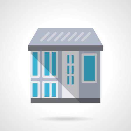 commercial real estate: Front view of a store with a roof, door, showcase and shadow. Architecture, real estate agency. Commercial buildings. Flat color style vector icon. Web design element for site, mobile and business.