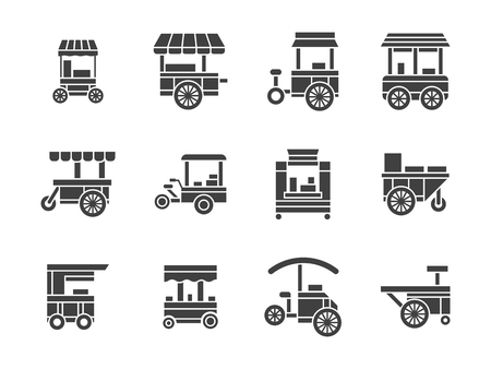cart: Wheel trolley and equipment for street vending and fast food. Mobile wheel shops, cart stalls. Collection of symbolic black glyph style vector icons. Elements for web design and mobile.