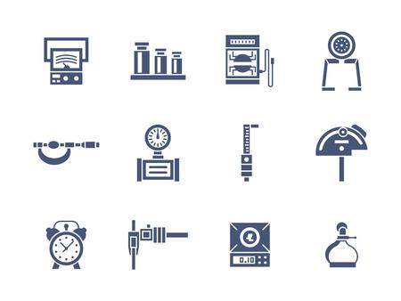 測定器のサンプルのセットです。教育、工学、計量標準研究用ツールです。象徴的なグリフ スタイル ベクトルのアイコンのコレクションです。Web   イラスト・ベクター素材