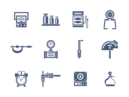 metrology: Set of measurement instrument samples. Tools for education, engineering, metrology research and others. Collection of symbolic glyph style vector icons. Elements for web design and mobile.