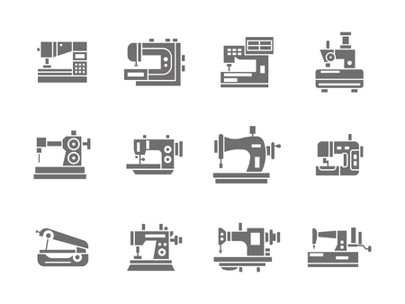 mending: Equipment for light industry. Industrial and household sewing machines and overlock. Collection of symbolic black glyph style vector icons. Elements for web design and mobile. Illustration